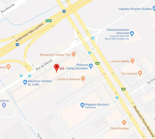 image d'une google map indiquant l'emplacement de la Clinique à Québec